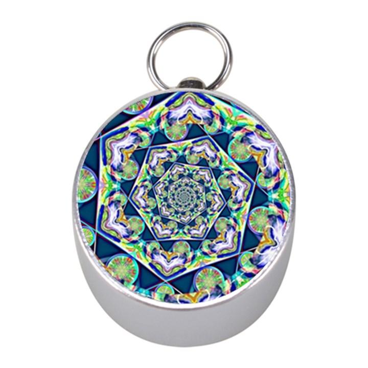 Power Spiral Polygon Blue Green White Mini Silver Compasses