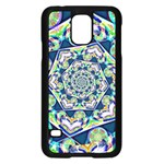 Power Spiral Polygon Blue Green White Samsung Galaxy S5 Case (Black) Front
