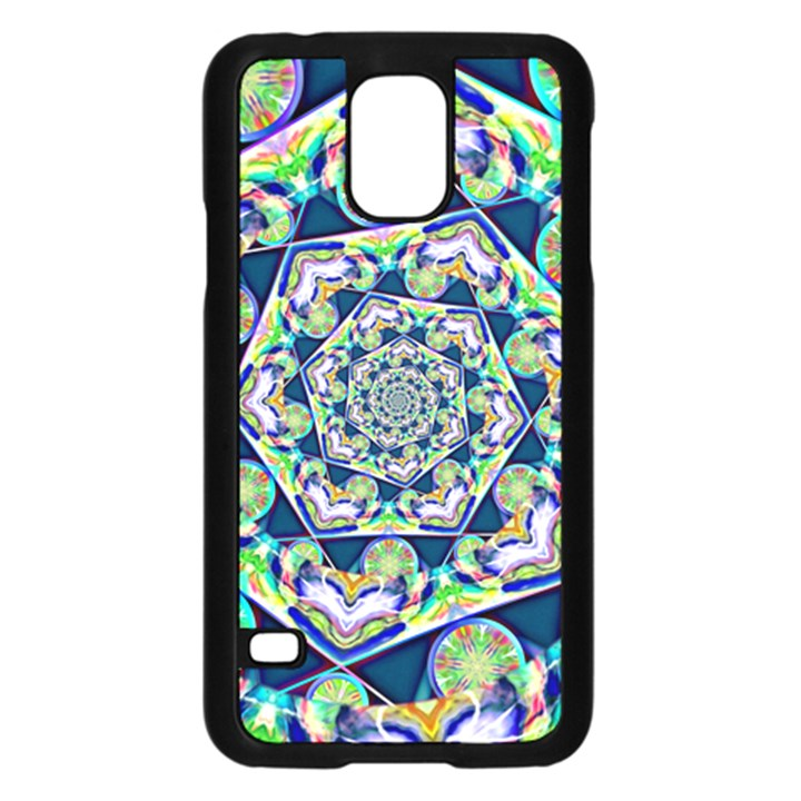 Power Spiral Polygon Blue Green White Samsung Galaxy S5 Case (Black)