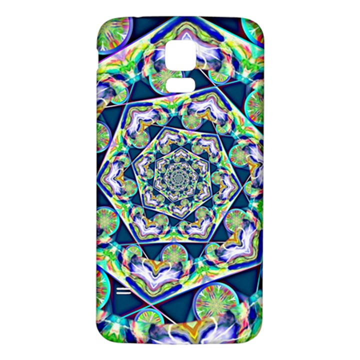 Power Spiral Polygon Blue Green White Samsung Galaxy S5 Back Case (White)