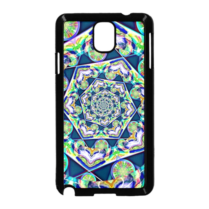 Power Spiral Polygon Blue Green White Samsung Galaxy Note 3 Neo Hardshell Case (Black)