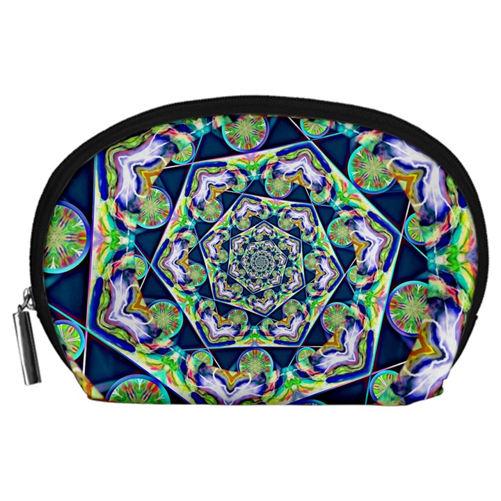 Power Spiral Polygon Blue Green White Accessory Pouches (Large)