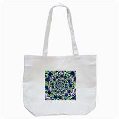 Power Spiral Polygon Blue Green White Tote Bag (White)