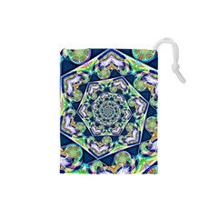 Power Spiral Polygon Blue Green White Drawstring Pouches (Small)