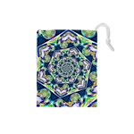 Power Spiral Polygon Blue Green White Drawstring Pouches (Small)  Front
