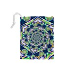 Power Spiral Polygon Blue Green White Drawstring Pouches (Small)  Back