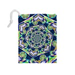 Power Spiral Polygon Blue Green White Drawstring Pouches (Medium)  Back
