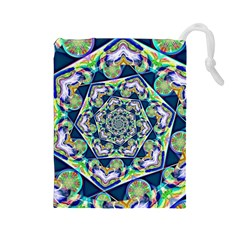 Power Spiral Polygon Blue Green White Drawstring Pouches (large)