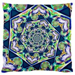 Power Spiral Polygon Blue Green White Large Flano Cushion Case (Two Sides) Front