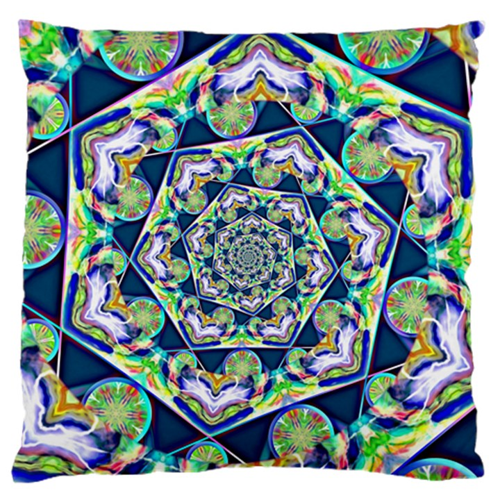Power Spiral Polygon Blue Green White Large Flano Cushion Case (Two Sides)
