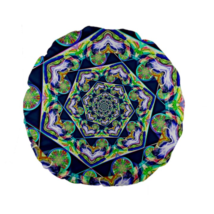 Power Spiral Polygon Blue Green White Standard 15  Premium Flano Round Cushions