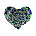 Power Spiral Polygon Blue Green White Standard 16  Premium Flano Heart Shape Cushions Front