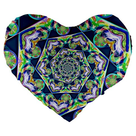 Power Spiral Polygon Blue Green White Large 19  Premium Flano Heart Shape Cushions