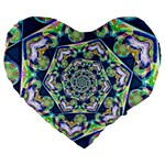 Power Spiral Polygon Blue Green White Large 19  Premium Flano Heart Shape Cushions Front