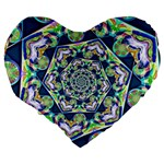 Power Spiral Polygon Blue Green White Large 19  Premium Flano Heart Shape Cushions Back