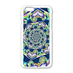 Power Spiral Polygon Blue Green White Apple iPhone 6/6S White Enamel Case