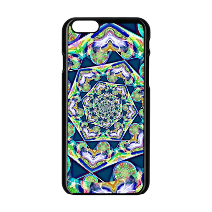 Power Spiral Polygon Blue Green White Apple iPhone 6/6S Black Enamel Case