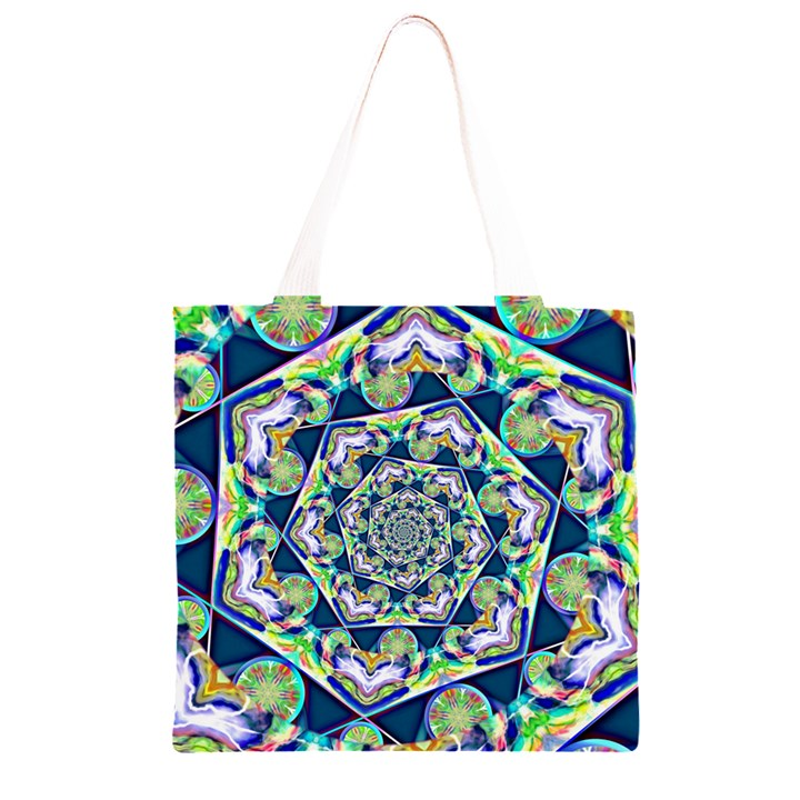 Power Spiral Polygon Blue Green White Grocery Light Tote Bag