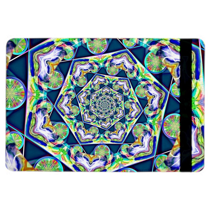 Power Spiral Polygon Blue Green White iPad Air 2 Flip