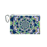 Power Spiral Polygon Blue Green White Canvas Cosmetic Bag (S) Front