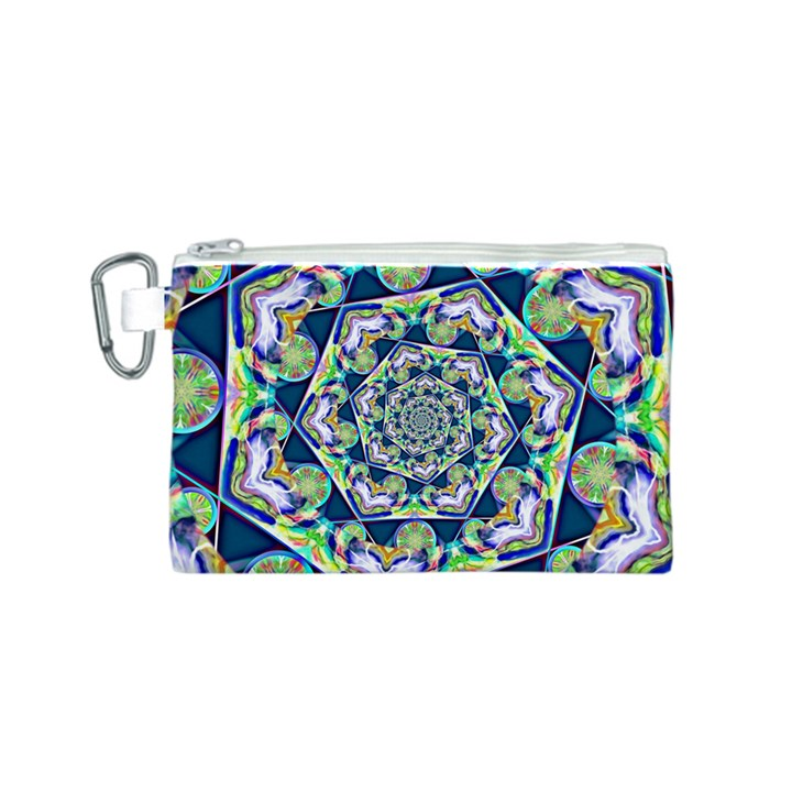 Power Spiral Polygon Blue Green White Canvas Cosmetic Bag (S)