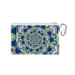 Power Spiral Polygon Blue Green White Canvas Cosmetic Bag (S) Back