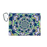 Power Spiral Polygon Blue Green White Canvas Cosmetic Bag (M) Front
