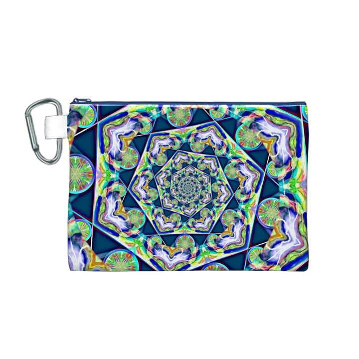 Power Spiral Polygon Blue Green White Canvas Cosmetic Bag (M)