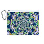 Power Spiral Polygon Blue Green White Canvas Cosmetic Bag (L) Front
