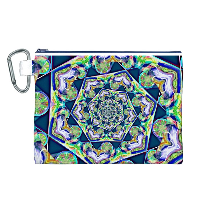 Power Spiral Polygon Blue Green White Canvas Cosmetic Bag (L)