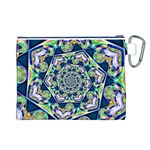 Power Spiral Polygon Blue Green White Canvas Cosmetic Bag (L) Back