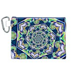 Power Spiral Polygon Blue Green White Canvas Cosmetic Bag (XL) Front