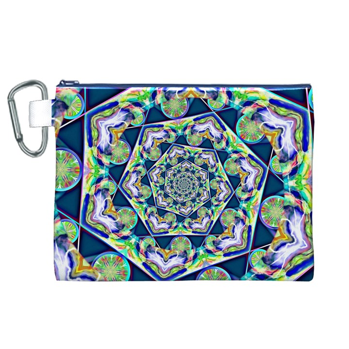 Power Spiral Polygon Blue Green White Canvas Cosmetic Bag (XL)