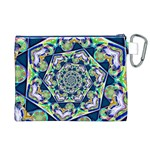 Power Spiral Polygon Blue Green White Canvas Cosmetic Bag (XL) Back