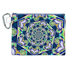 Power Spiral Polygon Blue Green White Canvas Cosmetic Bag (xxl)