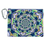 Power Spiral Polygon Blue Green White Canvas Cosmetic Bag (XXL) Front