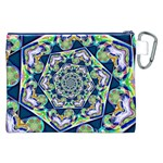 Power Spiral Polygon Blue Green White Canvas Cosmetic Bag (XXL) Back
