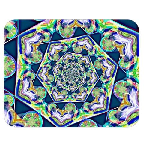 Power Spiral Polygon Blue Green White Double Sided Flano Blanket (Medium)