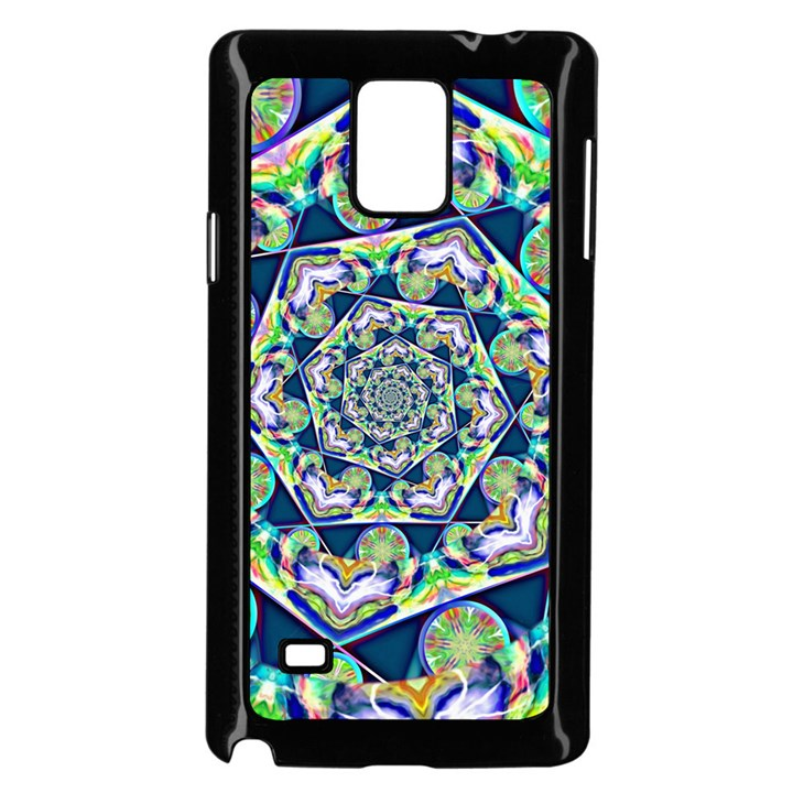 Power Spiral Polygon Blue Green White Samsung Galaxy Note 4 Case (Black)