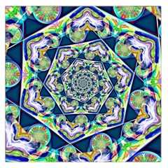 Power Spiral Polygon Blue Green White Large Satin Scarf (square)