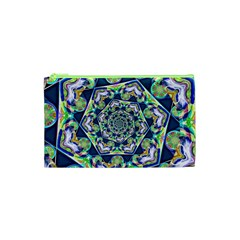 Power Spiral Polygon Blue Green White Cosmetic Bag (XS)