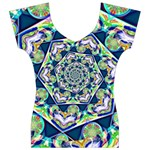 Power Spiral Polygon Blue Green White Women s V-Neck Cap Sleeve Top Front