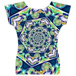 Power Spiral Polygon Blue Green White Women s V-Neck Cap Sleeve Top Back