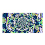 Power Spiral Polygon Blue Green White Satin Wrap Front
