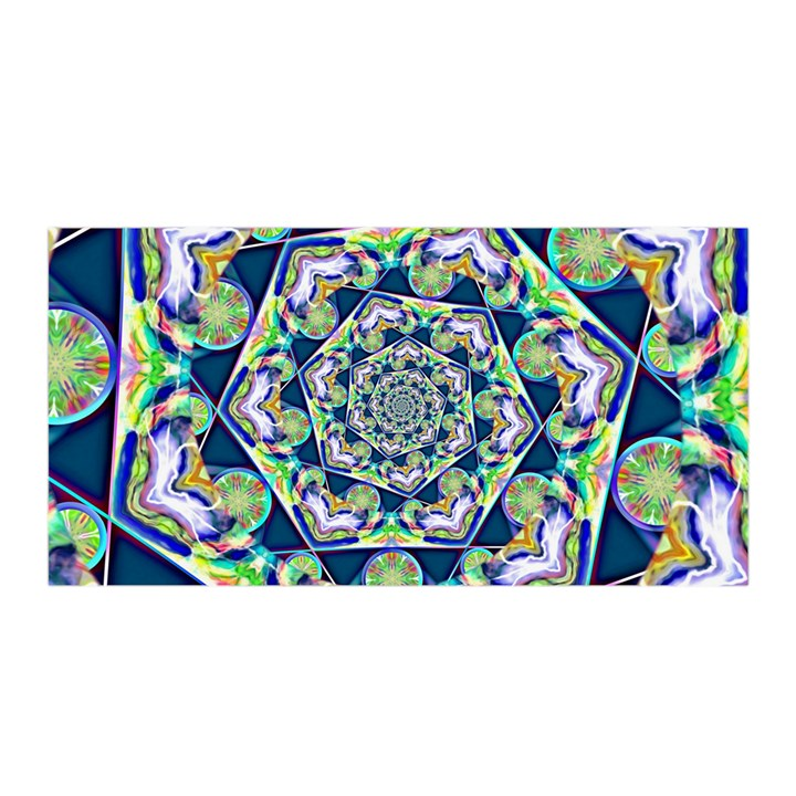Power Spiral Polygon Blue Green White Satin Wrap