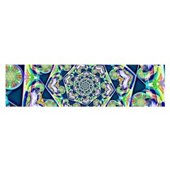 Power Spiral Polygon Blue Green White Satin Scarf (Oblong)