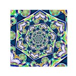 Power Spiral Polygon Blue Green White Small Satin Scarf (Square) Front