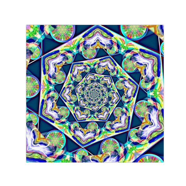 Power Spiral Polygon Blue Green White Small Satin Scarf (Square)