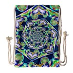 Power Spiral Polygon Blue Green White Drawstring Bag (Large) Front