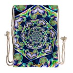 Power Spiral Polygon Blue Green White Drawstring Bag (Large) Back
